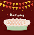 pie apple of thanksgiving day with garlands vector image vector image