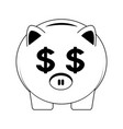 piggy savings symbol in black and white vector image vector image