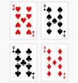 Playing Cards Showing Nines from Each Suit vector image