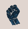 raised up clenched fist vector image