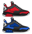 red and blue basketball shoes vector image