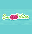 red raspberry smoothie drink label logo vector image vector image