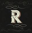 retro style western letter design letter r vector image
