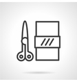 Scissors and paper black line icon vector image vector image