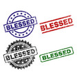 scratched textured blessed seal stamps vector image vector image