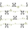 seamless pattern cute little panda with branch