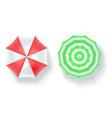 set multi colored beach umbrellas top view vector image