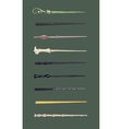 Set of 9 different magic wands for witches and vector image vector image