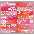Set of modern banners White paper hearts vector image vector image