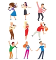 Singing people set vector image vector image