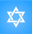 stylized star of david white color on blue vector image vector image