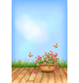 Summer flowers natural background vector image