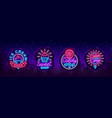 sweets shop is collection logos neon style ice vector image vector image