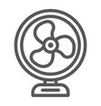 table fan line icon propeller and electric air vector image