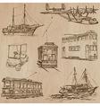 Transport pack - Hand drawn line art vector image vector image