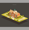 university isometric low poly vector image vector image