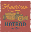 vintage hot rod t-shirt label design vector image vector image