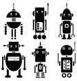 Vintage retro robots 2 set of 6 A vector image vector image