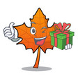 with gift red maple leaf mascot cartoon vector image