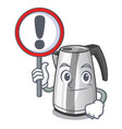 with sign electric stainless steel kettle on vector image