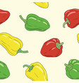 yellow green and red bell pepper seamless pattern vector image vector image