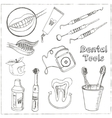 Doodle style dentist equipment sketch vector image