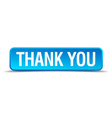 Thank you blue 3d realistic square isolated button vector image