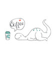 a doodle cute dinosaur exhausted and wishing vector image vector image