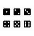 black dice cubes icons set vector image vector image