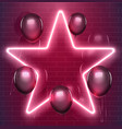 bright disco design neon star with black vector image vector image