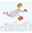 Business woman flying to work cartoon vector image vector image