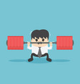 businessman cannot weightlifting vector image vector image