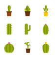 cactus plant icon set flat style vector image vector image