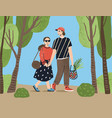 cute couple holding hands walking together vector image vector image