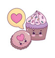 cute food cupcake and cookie love heart sweet vector image vector image