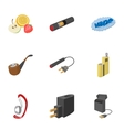 Electronic smoking cigarette icons set vector image