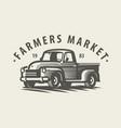 farm truck emblem farming agriculture symbol vector image
