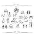 Fashion shopping icon doodle set vector image