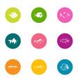 fish entrepreneurship icons set flat style vector image vector image