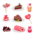 flat set of delicious valentine s day vector image