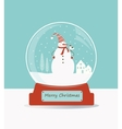 Glass ball with snowman and birds vector image vector image