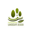 green tree landscape design gardening icon vector image vector image