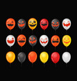 halloween party ballons with pumpkin faces vector image