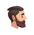 head of young bearded man with modern haircut vector image vector image