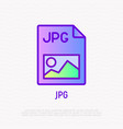 jpg file format thin line icon modern vector image vector image