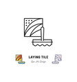 laying tile icon repair bathroom symbol spatula vector image vector image