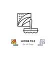 laying tile icon repair bathroom symbol spatula vector image