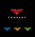 letter v shape wings logo vector image vector image