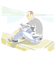 Man with mobile phone sitting on the parapet vector image