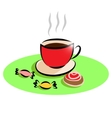 Morning Cup of tea and cake sweets vector image vector image